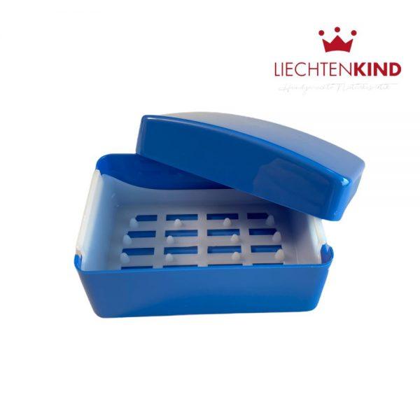 Aufbewahrungsdose für Seifen mit Deckel in blau